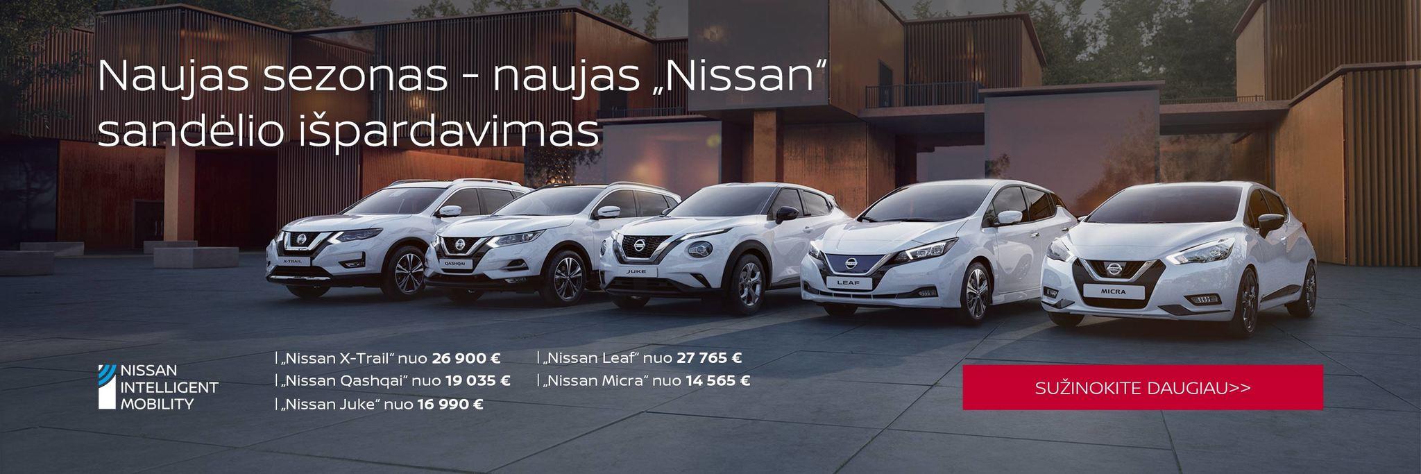Nissan SUV išpardavimas. Nuolaidos iki 6500 €